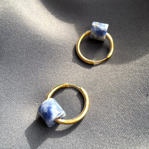 Tubular Stone Circle Earrings