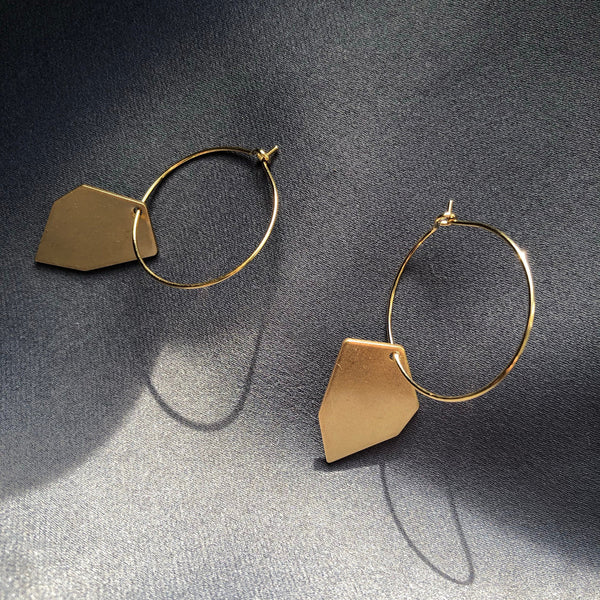 Irregular Hexagone Brass Earrings