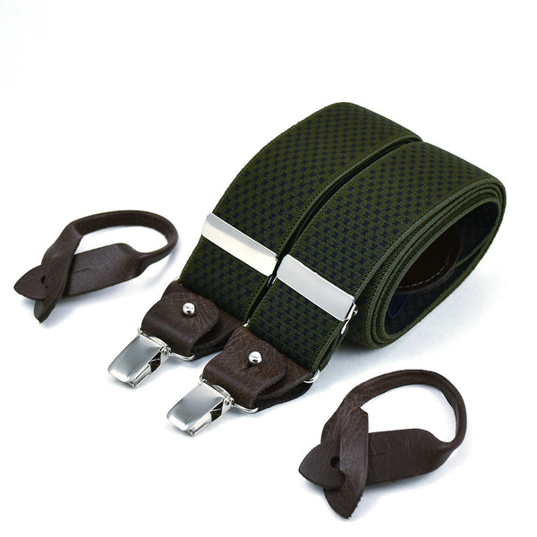 Wide Superior Suspenders Black Cross On Khaki