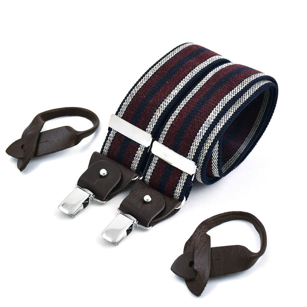 Wide Superior Suspenders Wine & Ecru Stripe On Navy