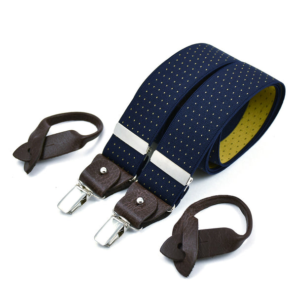 Wide Superior Suspenders Navy Blue & Yellow Polkadots