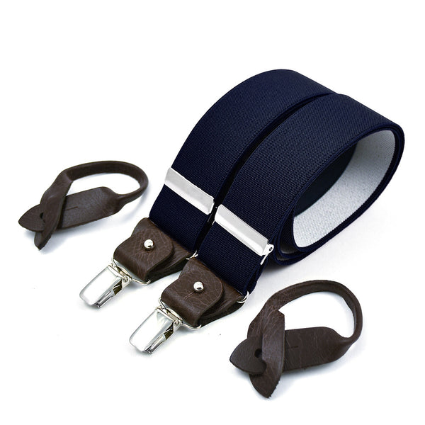 Wide Superior Suspenders Navy Blue