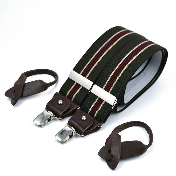 Wide Superior Suspenders Khaki & Military Stripe
