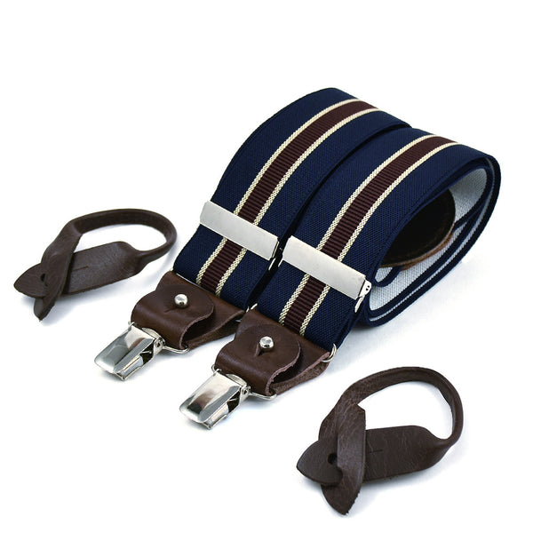 Wide Superior Suspenders Navy Blue & Military Stripe
