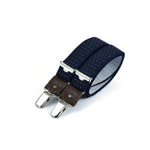 Thin Suspenders With Leather Navy Blue & White Polkadots
