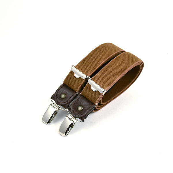 Thin Suspenders With Leather Chestnut