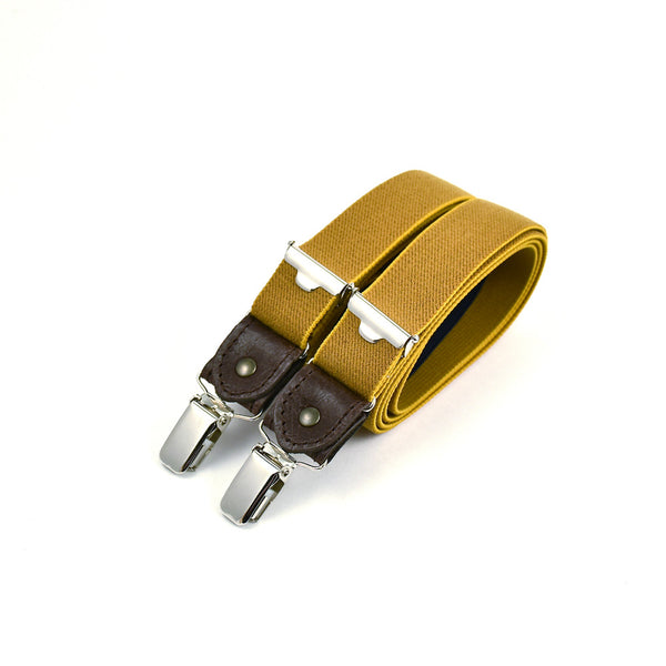 Thin Suspenders With Leather Curry