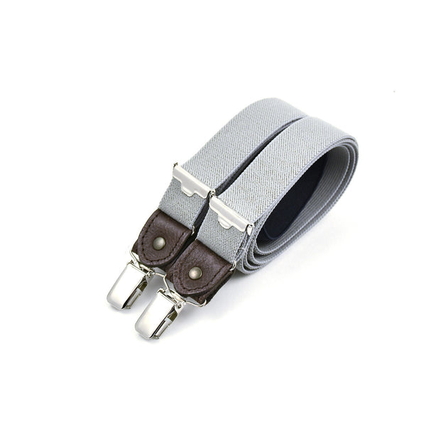 Thin Suspenders With Leather Pearl Grey