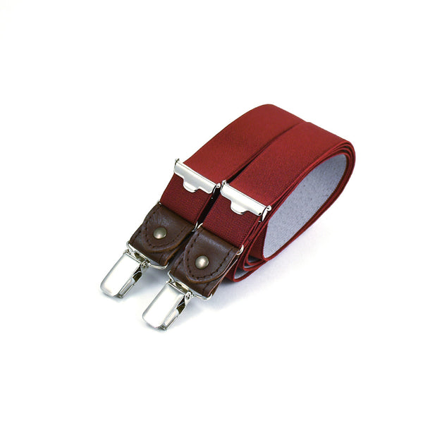 Thin Suspenders With Leather Red