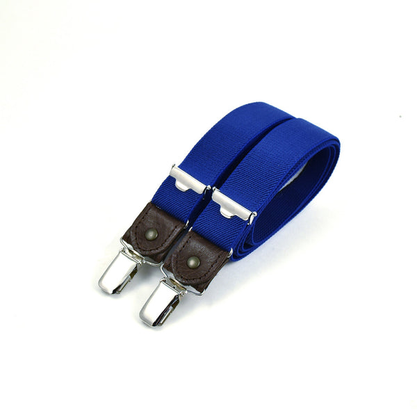 Thin Suspenders With Leather Royal Blue