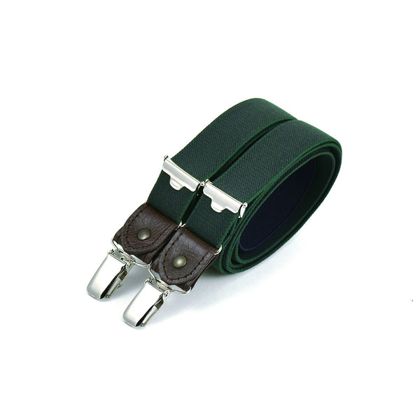 Thin Suspenders With Leather Bottle Green