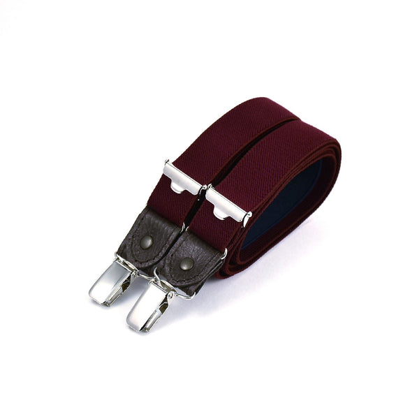 Thin Suspenders With Leather Textured Wine