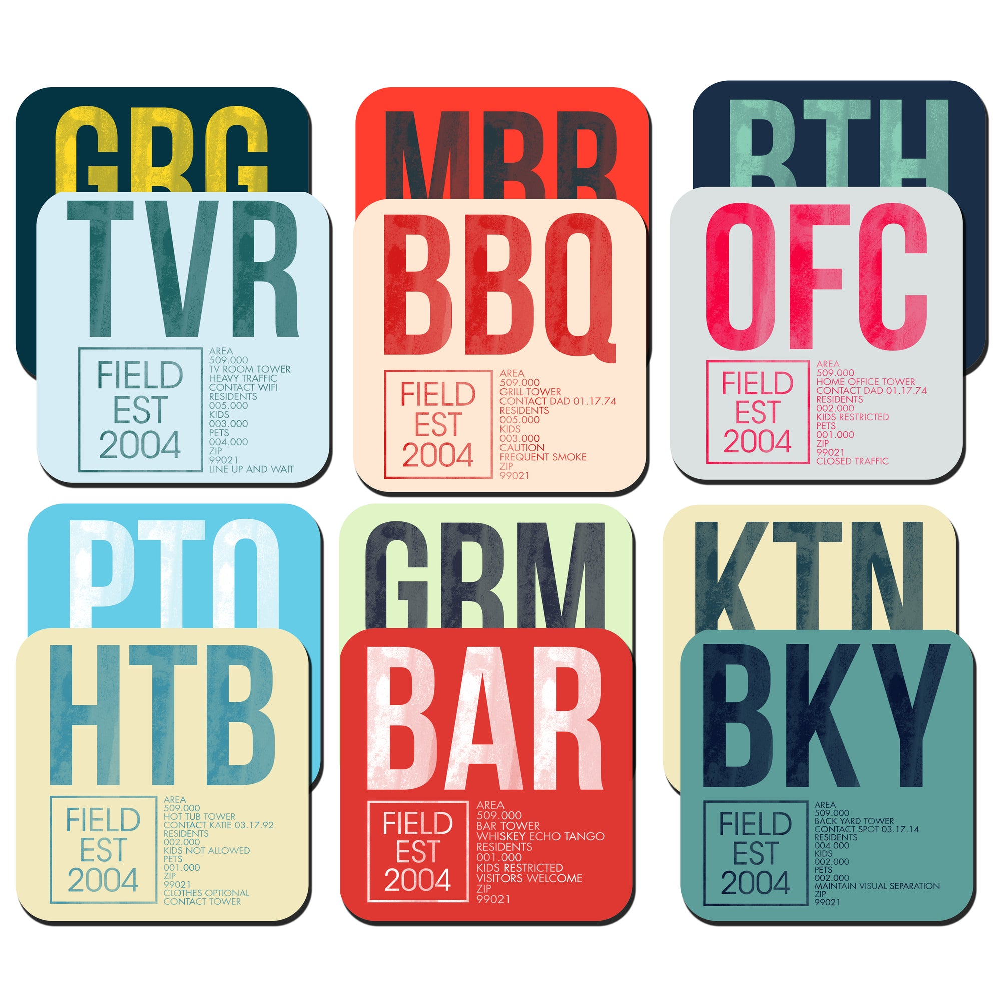 Variety Custom Home Code Coaster Packs