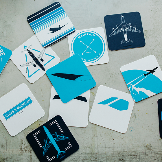 Aviation Pack 12 Pack Double-Thick Paper Coasters