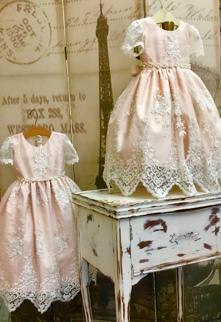 Toddlers blush christening lace dress-Alana