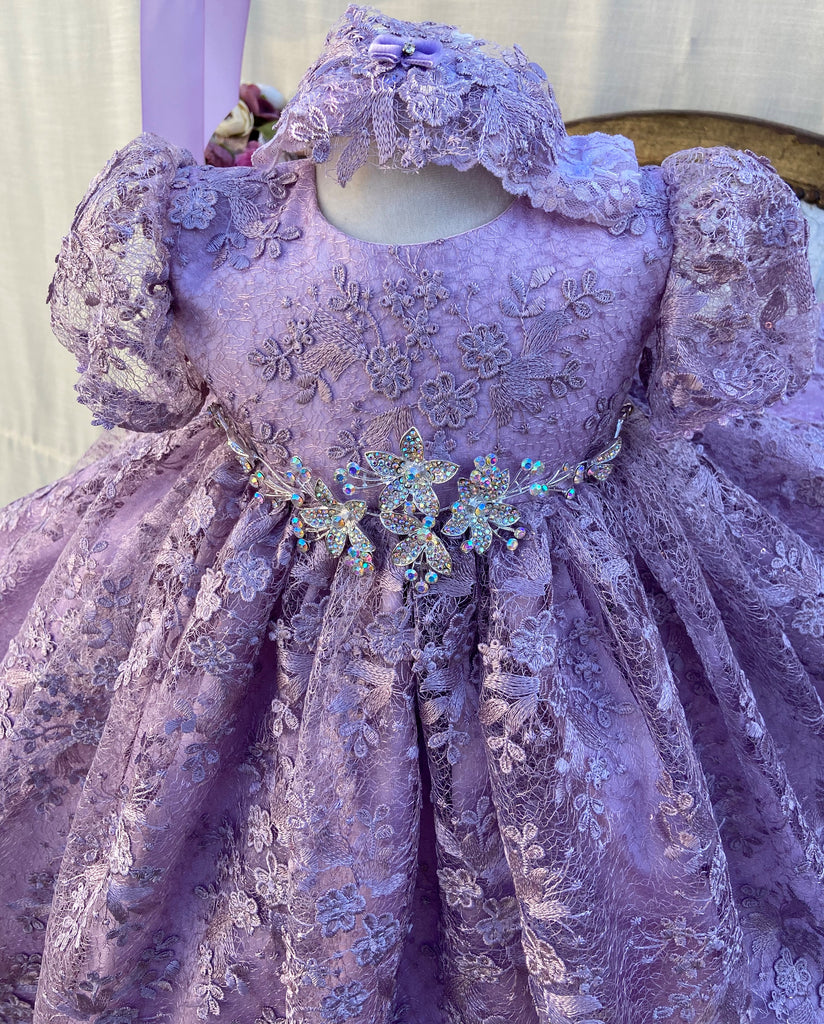 Violet Christening Gown with Bonnet / Imported Lilac Spider Lace