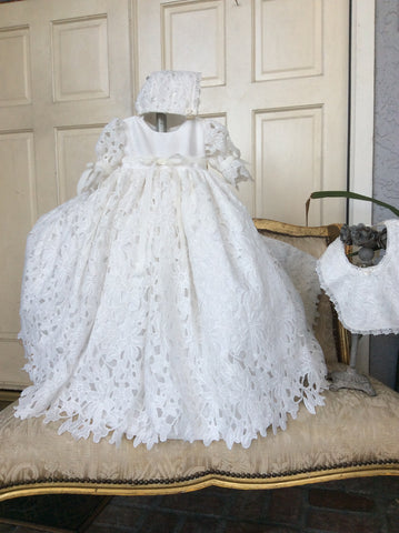 """Kendal"" Baptism Gown- Christening-Baby Girl Dress"