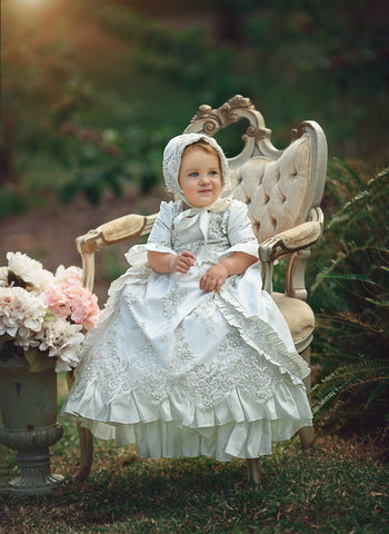 """Kate""Christening silk dress-baptism-toddler-bautismo"