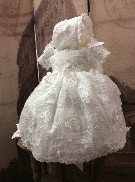 Lace Christening gown with flowers. Stella