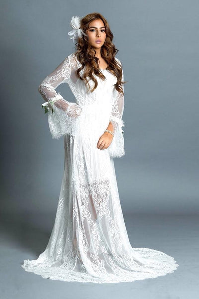 Lace bohemian wedding dress-Gaby
