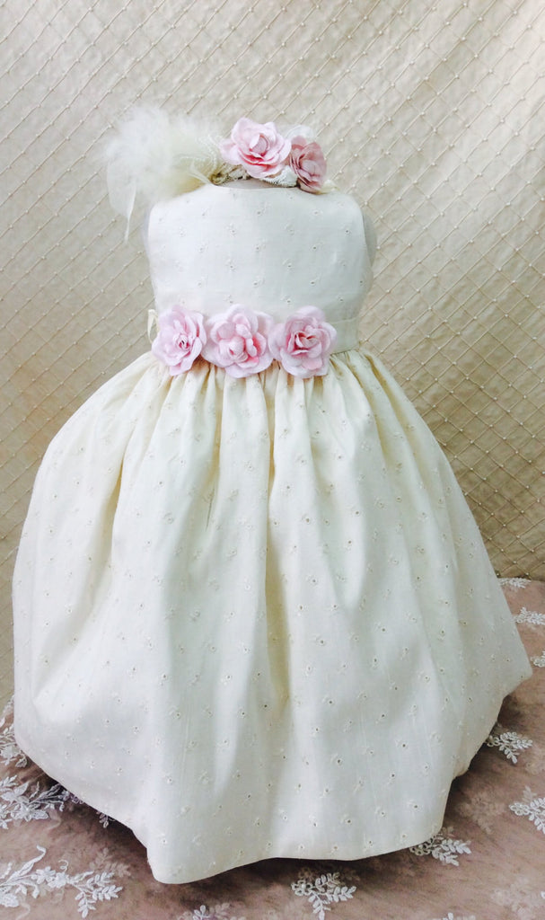 Flower girl dress-Photo-prop-baby girl-eyelet cotton dress-Eugenia - ElenaCollection  - 2