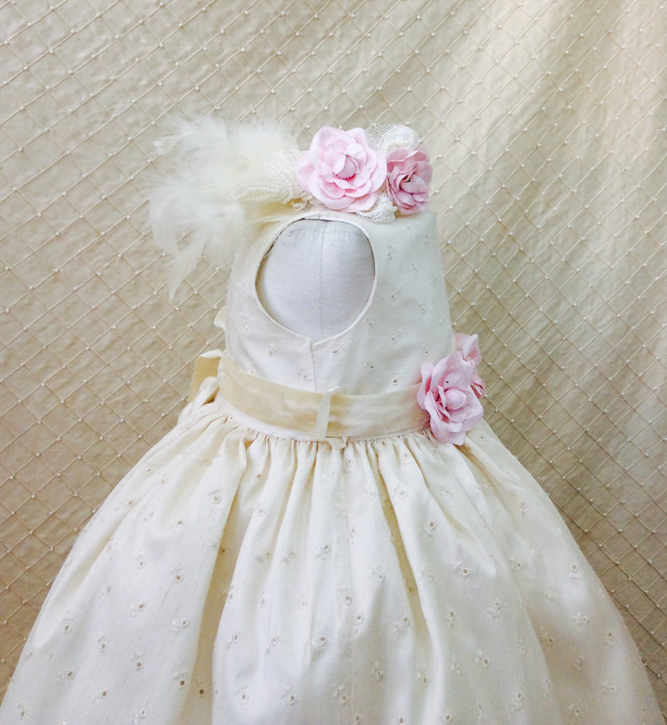 Flower girl dress-Photo-prop-baby girl-eyelet cotton dress-Eugenia - ElenaCollection  - 3