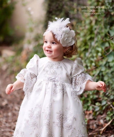 Christening toddler dress with bonnet-baptism lace dress-flower girl-bridal-Lacroix - ElenaCollection  - 1