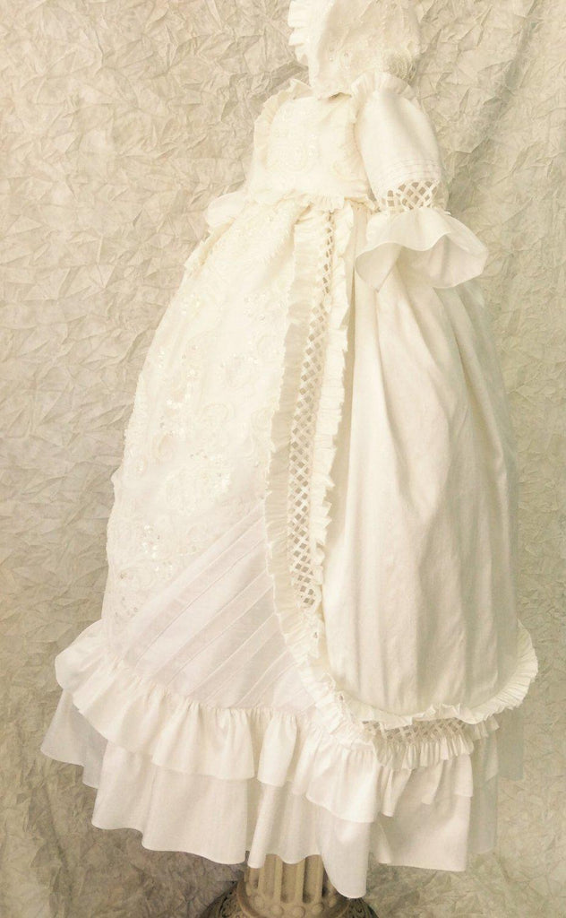 Christening silk boy gown-baptism-heirloom-Renato - ElenaCollection  - 5