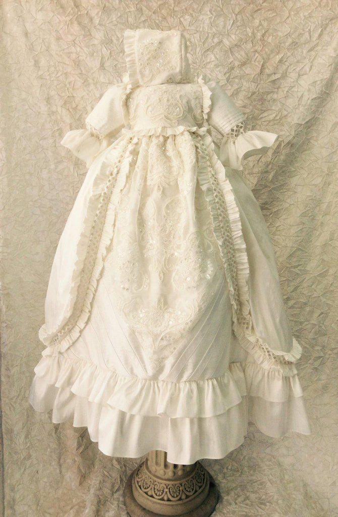 Christening silk boy gown-baptism-heirloom-Renato - ElenaCollection  - 2