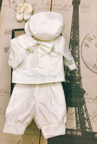 Boy silk christening suit-Sam
