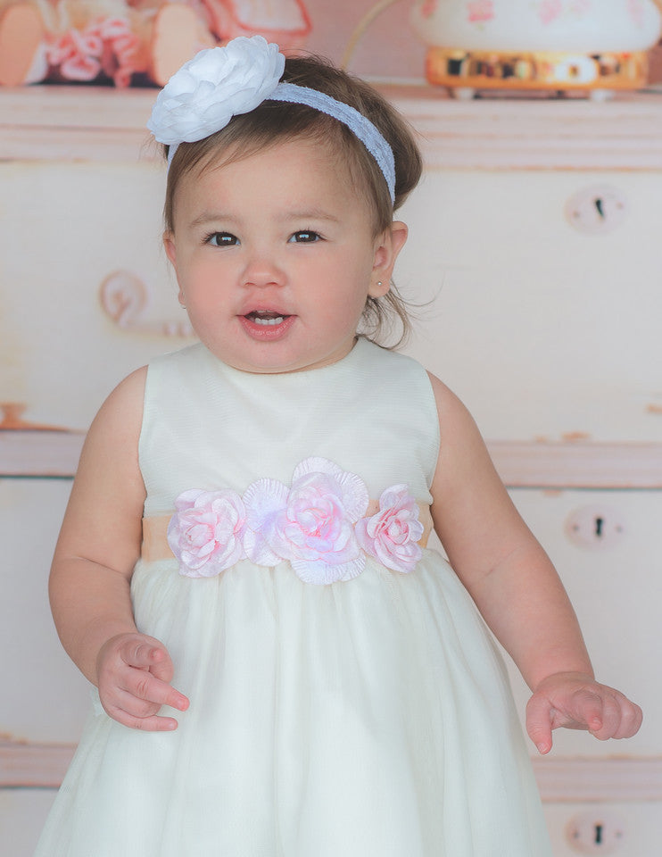 Flower baby girl dress-Baptism-Christening-Brandy - ElenaCollection  - 4