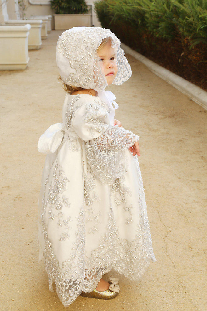 Christening toddler dress with bonnet-baptism lace dress-flower girl-bridal-Lacroix - ElenaCollection  - 4