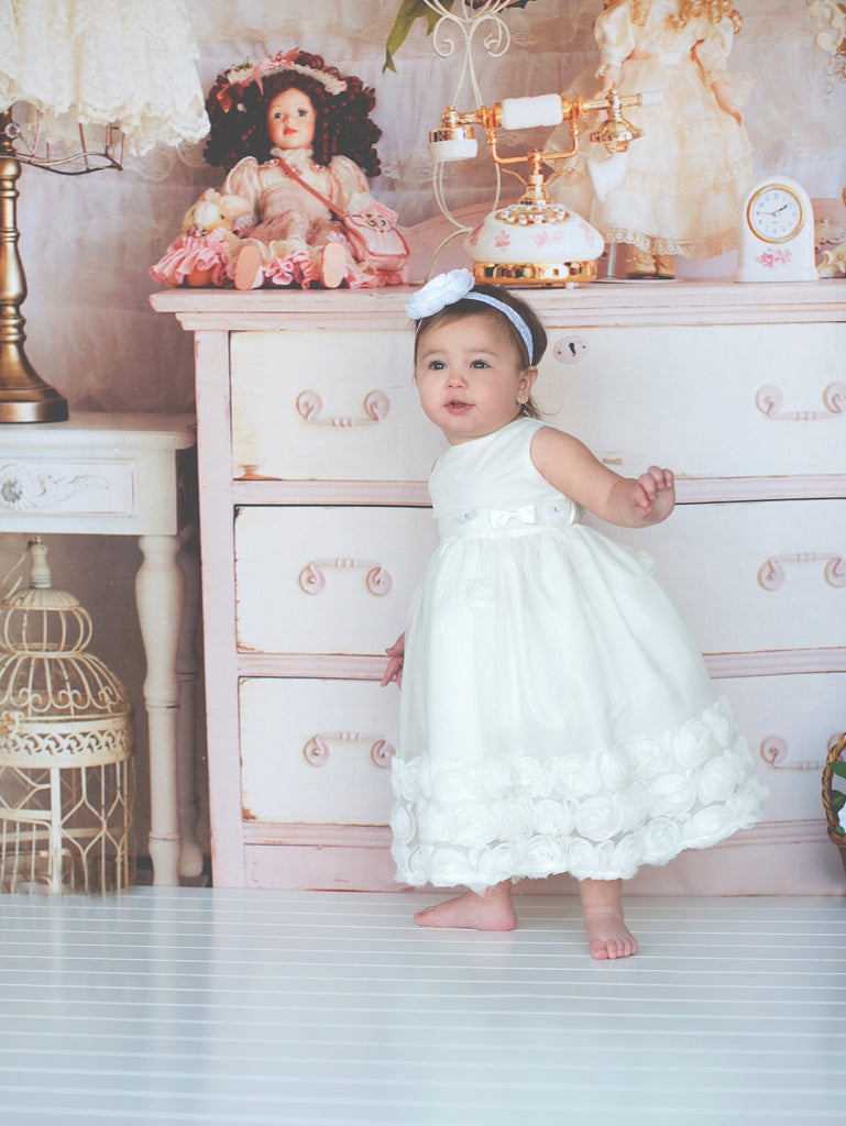 Flower baby girl dress-Baptism-Christening-Brandy - ElenaCollection  - 1
