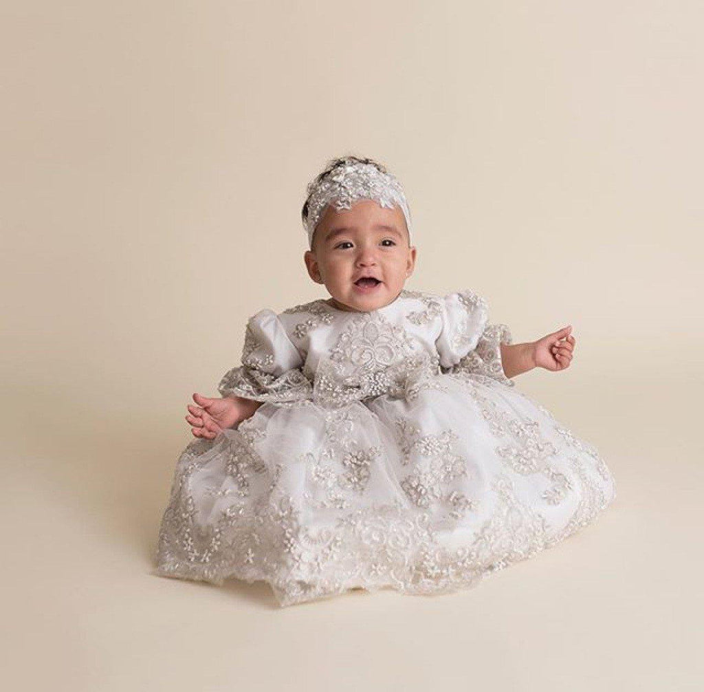 Christening toddler dress with bonnet-baptism lace dress-flower girl-bridal-Lacroix - ElenaCollection  - 10