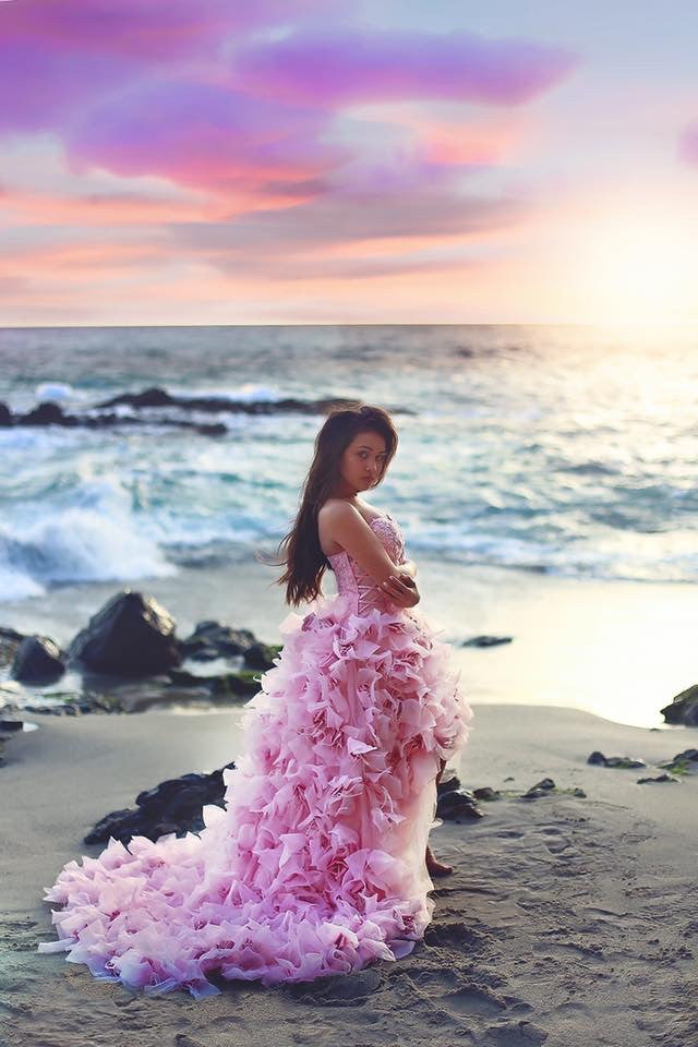 Wedding Feather Gown-rental -Quinceanera-Prom-Moët - ElenaCollection  - 4