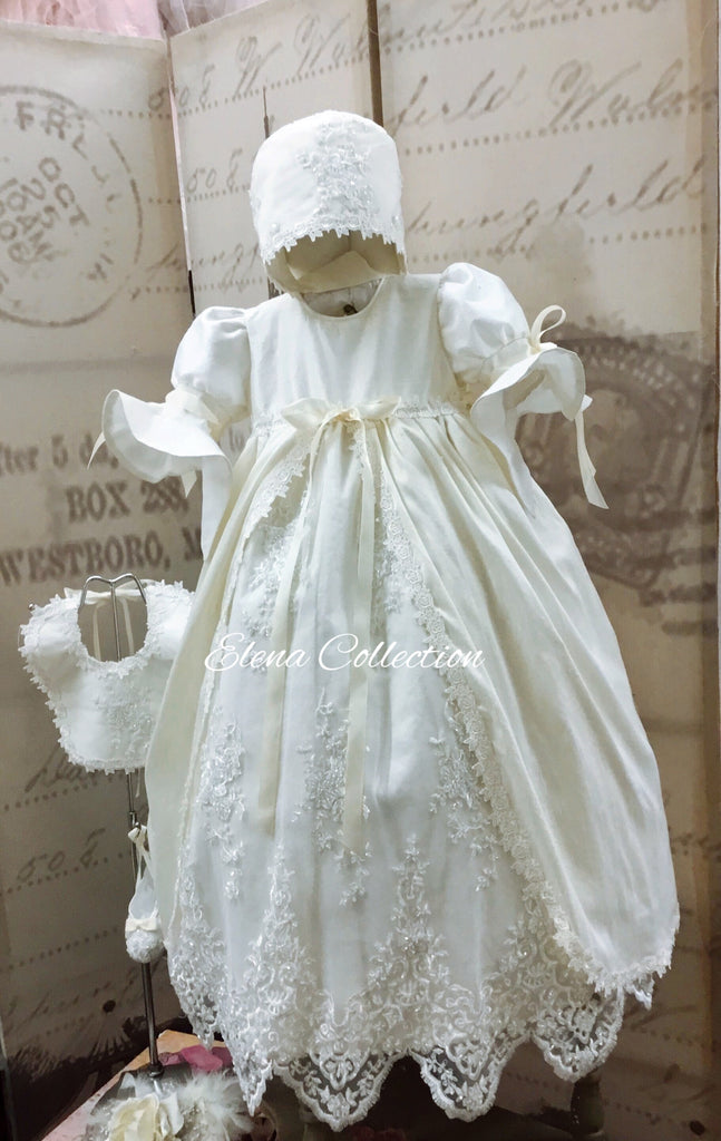 Christening Silk Gown & Bonnet -Jensen