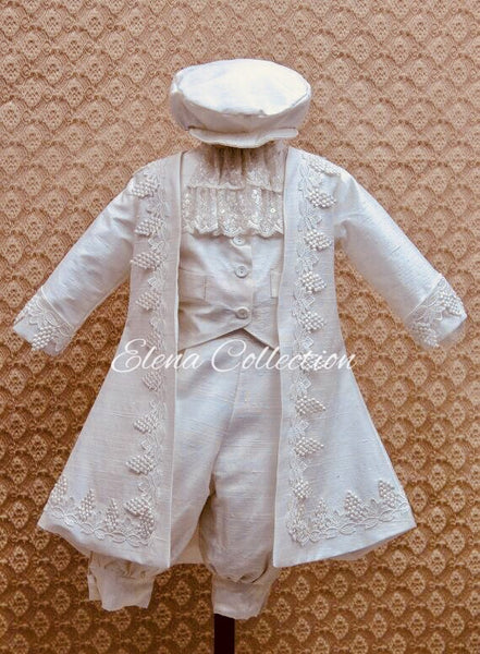 Christening silk boy suit-Daniel