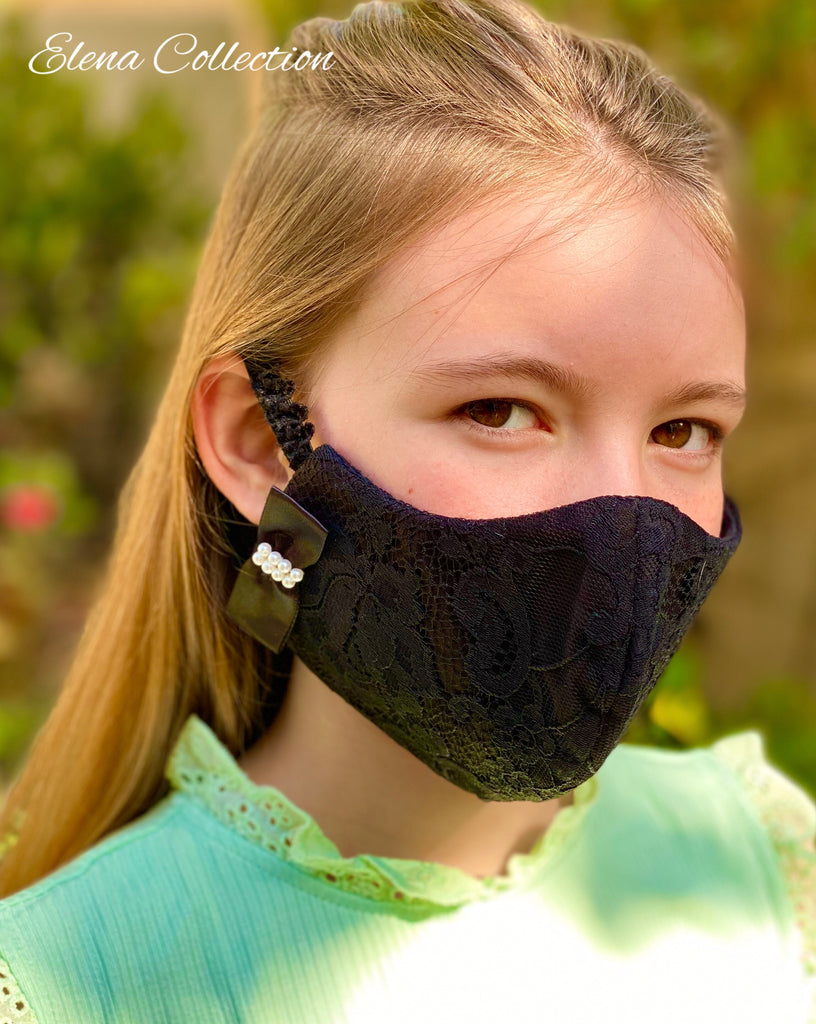 Paisley-Black Vintage Lace Face Mask for girls 5 layers made in USA
