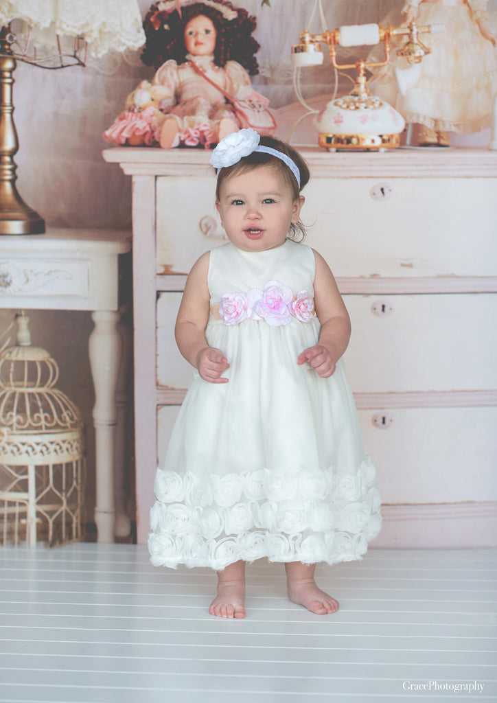 Flower baby girl dress-Baptism-Christening-Brandy - ElenaCollection  - 9