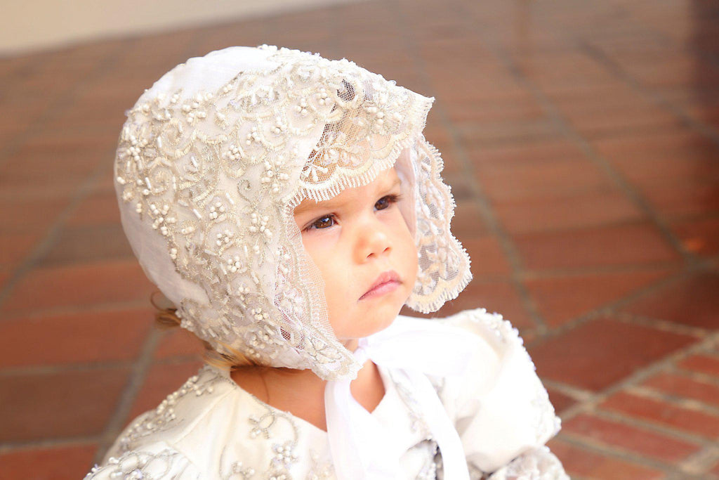 Christening toddler dress with bonnet-baptism lace dress-flower girl-bridal-Lacroix - ElenaCollection  - 3