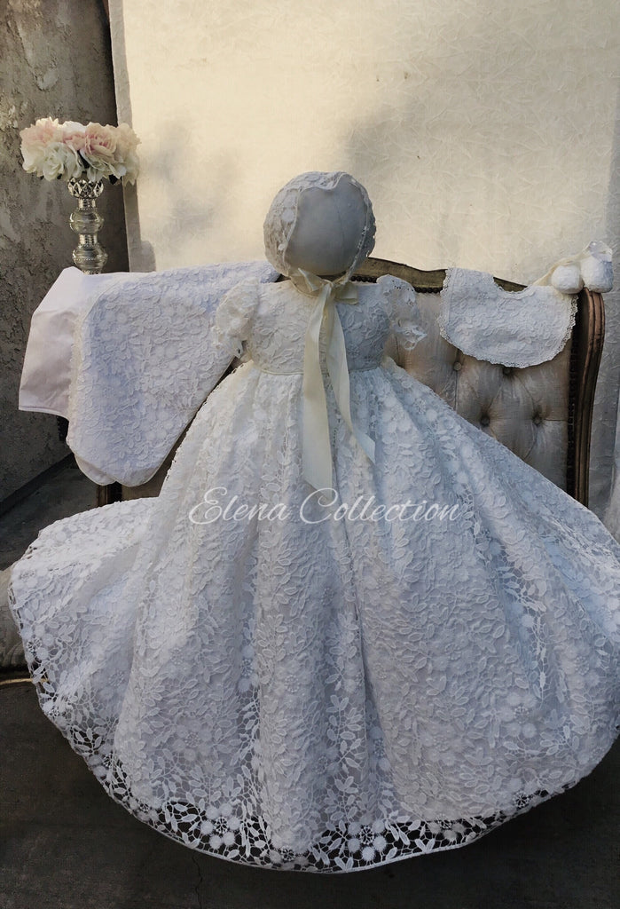 Lace Christening Gown with Bonnet - Rosalba