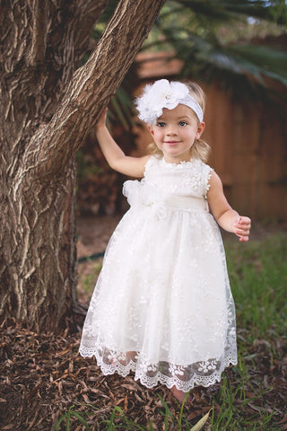 Flower girl baby dress-baptism-christening-Ivory lace baby dress-Matilda - ElenaCollection  - 1