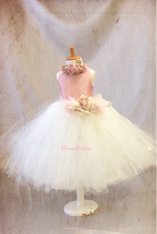 Flower girl tutu dress open back-bridal- photography-Rosita - ElenaCollection  - 4