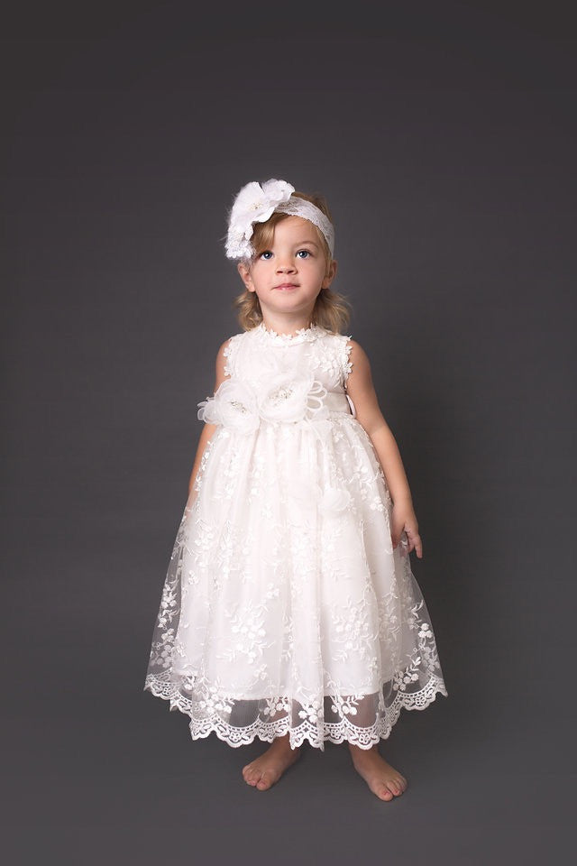 Flower girl baby dress-baptism-christening-Ivory lace baby dress-Matilda - ElenaCollection  - 2