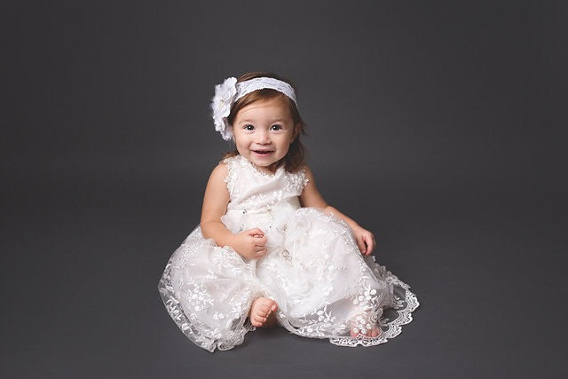 Flower girl baby dress-baptism-christening-Ivory lace baby dress-Matilda - ElenaCollection  - 3