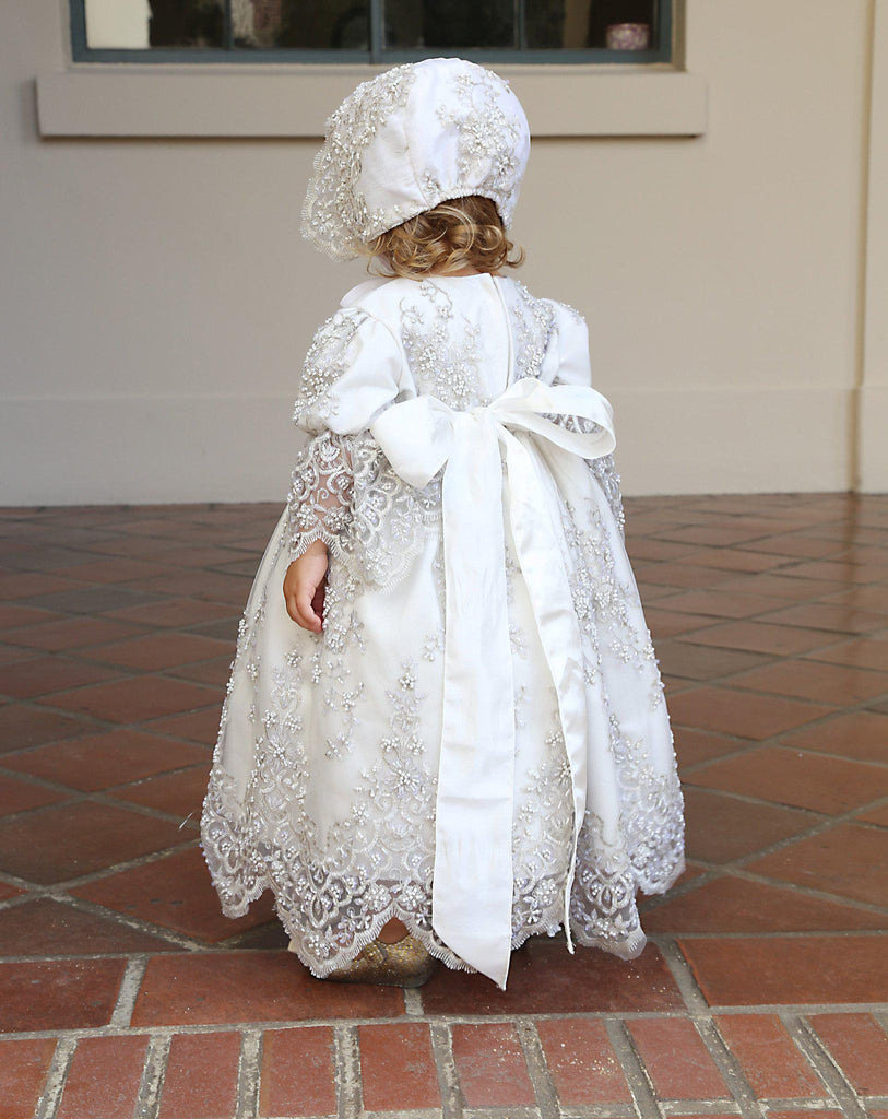 Christening toddler dress with bonnet-baptism lace dress-flower girl-bridal-Lacroix - ElenaCollection  - 6