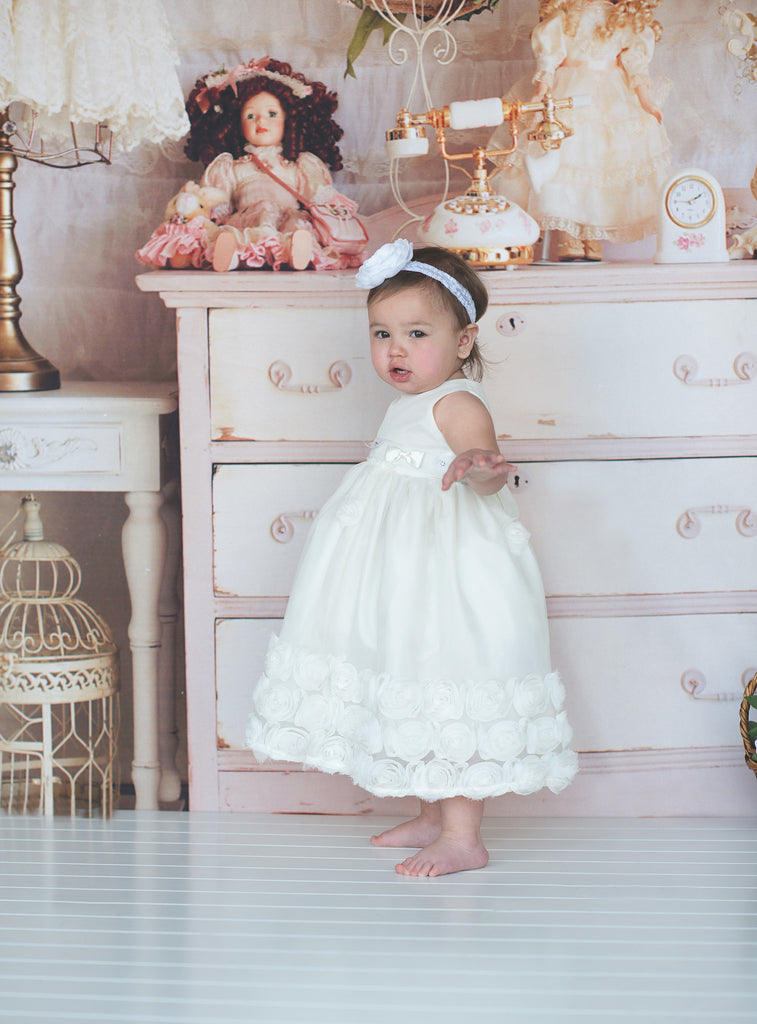 Flower baby girl dress-Baptism-Christening-Brandy - ElenaCollection  - 2