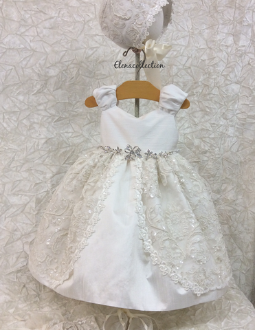Christening Dress with Bonnet-Debbie - ElenaCollection  - 4