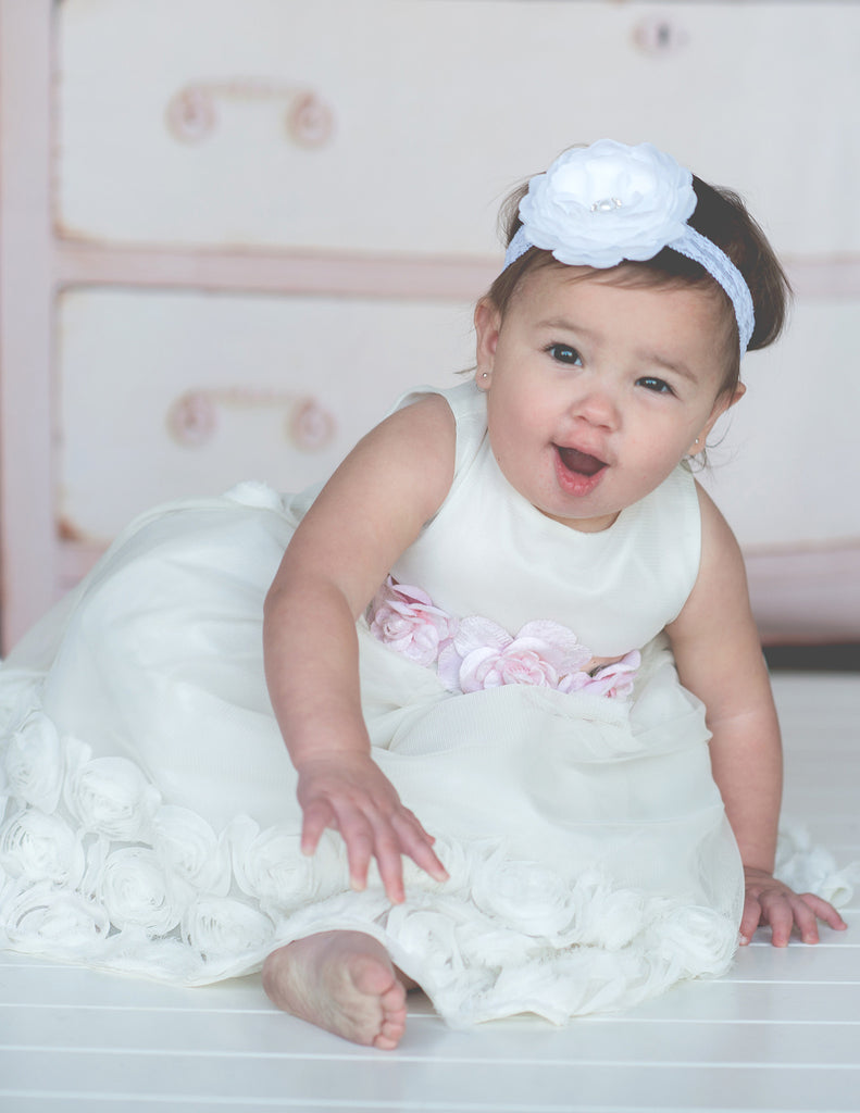 Flower baby girl dress-Baptism-Christening-Brandy - ElenaCollection  - 6
