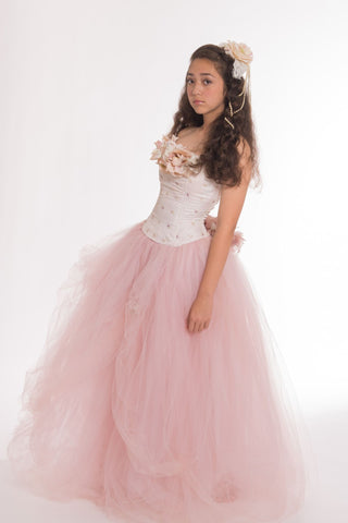 Blush Quinceanera Tulle Gown-Bridal-Prom-Isabel - ElenaCollection  - 2